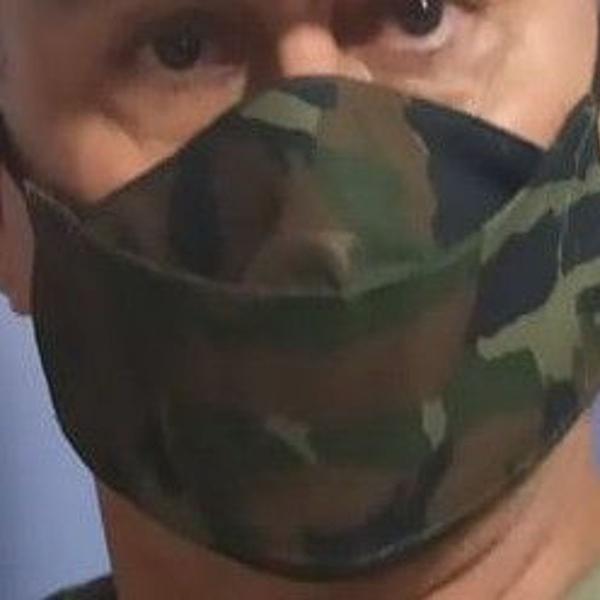 Máscara proteção tecido camuflada aeronáutica