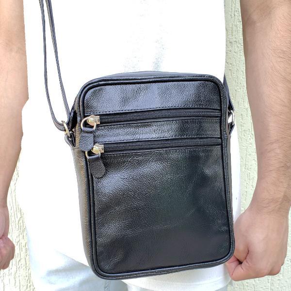 Pochete masculina preta bolsa pasta couro legitimo