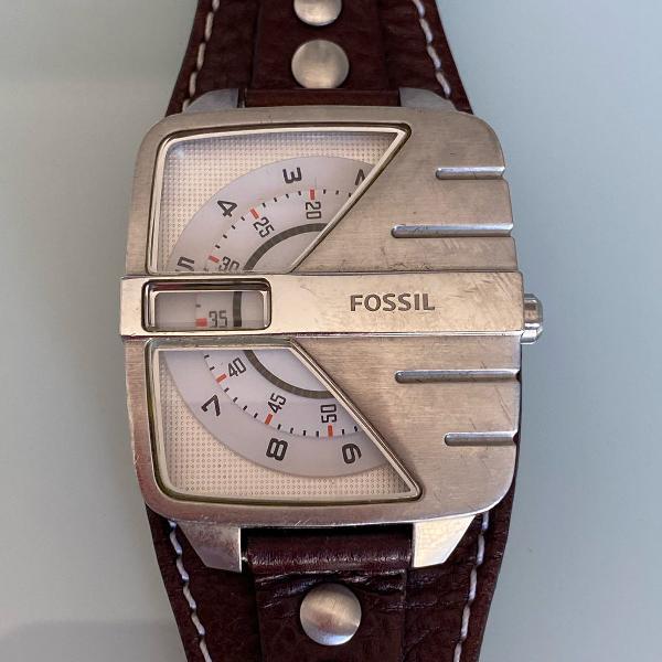 Relógio fóssil masculino mecânico pulseira marrom