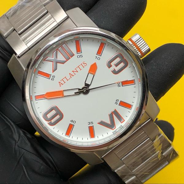 Relógio prateado masculino atlantis modelo magnum