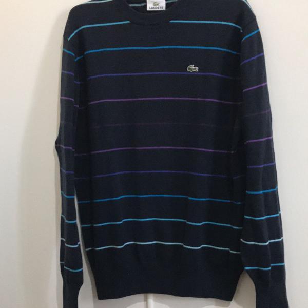 Suéter masculino, azul marinho com listras, lacoste,