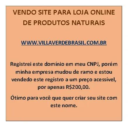 Site para loja de produtos naturais vendo domínio