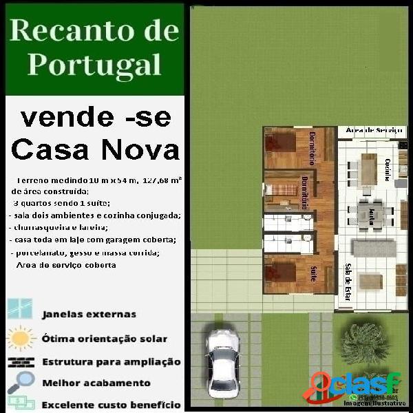 Casa de 3 dormitórios e 1 suíte no recanto de portugal