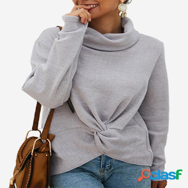 Torção cor sólida camisola de gola alta manga comprida para as mulheres