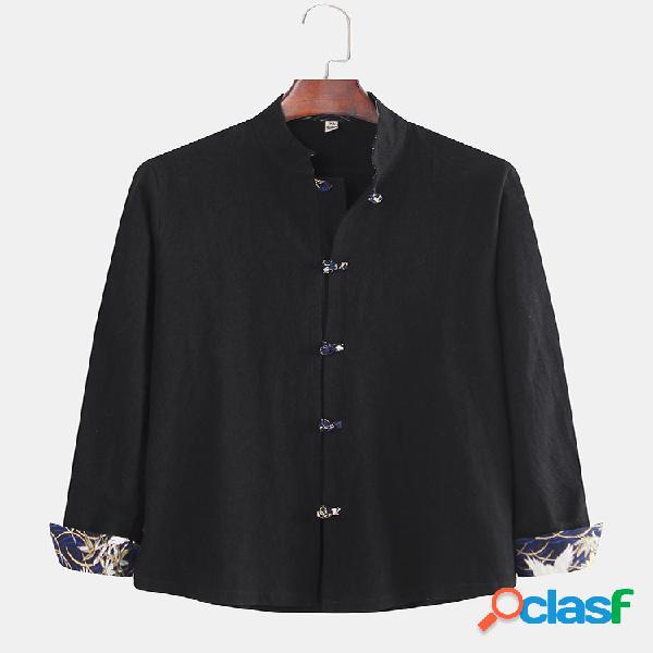 Botão de disco de retalhos de cor sólida étnica retro masculina camisa