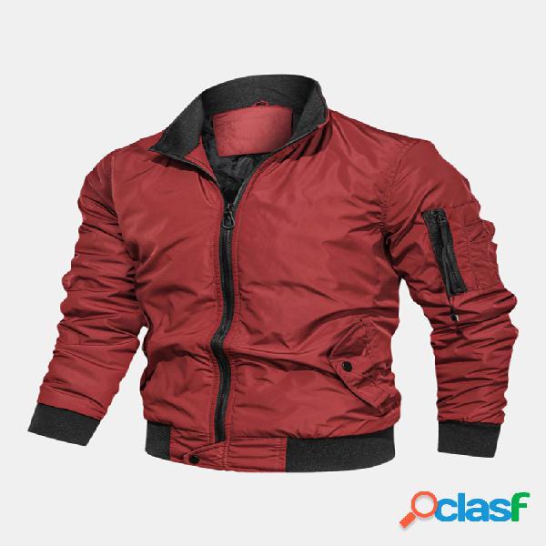 Mens cool solid color hand side pocket stand collar flight jacket