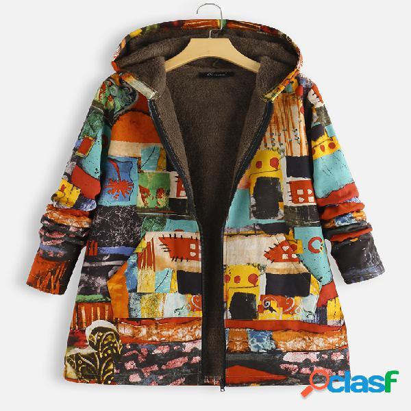 Casaco de tamanho plus com capuz de lã impresso vintage para mulheres