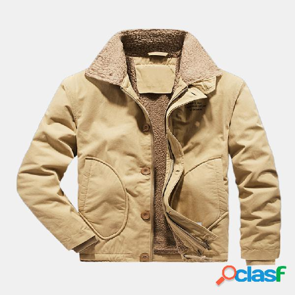 Mens solid color side pocket plush thicken windproof coats