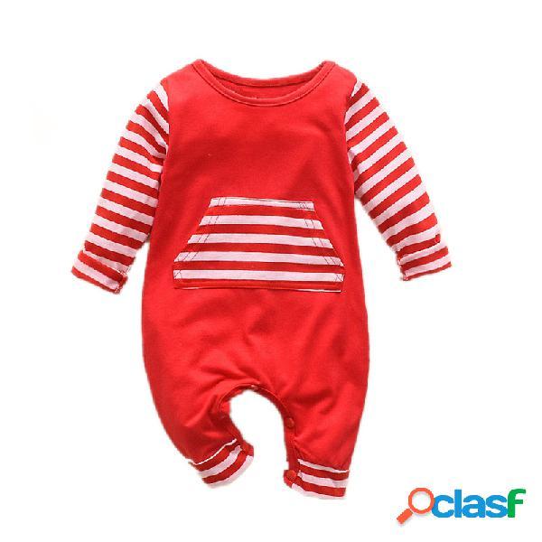 Bebê listrado retalhos mangas compridas pijamas casuais macacão para 0-24m