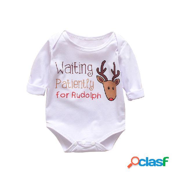 Bebê elk natal imprimir mangas compridas macacão casual pijamas para 0-24m