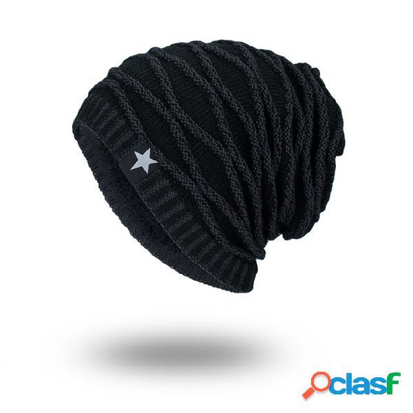 Lã de malha masculina chapéu gorro quente com cinco estrelas padrão