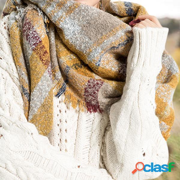 Correspondência de cores das mulheres cachecol de malha senhoras cachecol quente abotoado crochê padrão