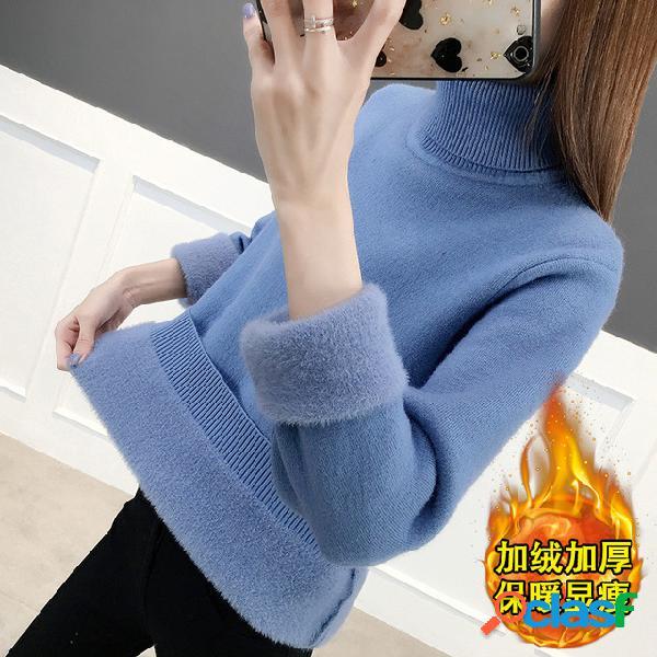 Muito popular manga comprida de malha grossa assentamento camisa top de uma peça pulôver de gola alta