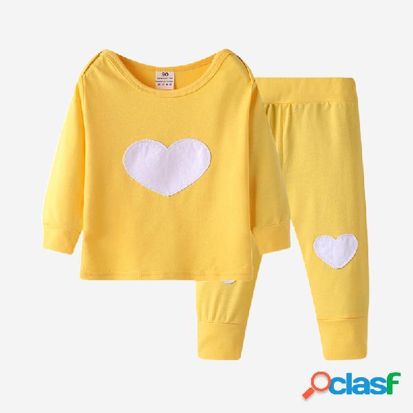Baby coração love print conjunto de roupas de pijama casual de mangas compridas para 6-24m