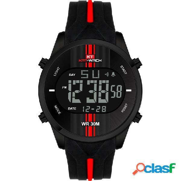 Relógio de silicone esportivo impermeável militar casual