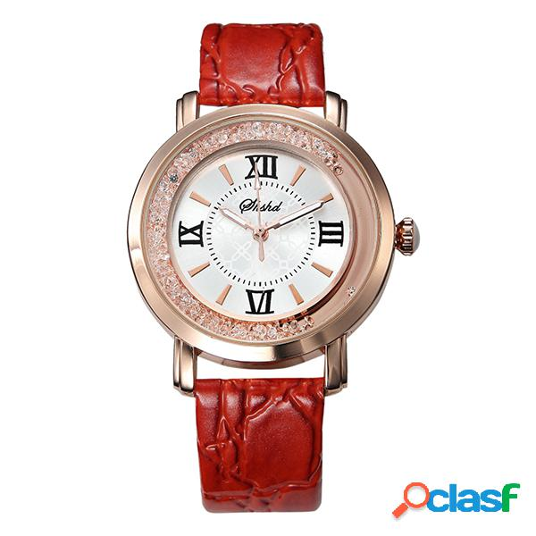 Relógio luxuoso feminino strass errático pulseira de couro