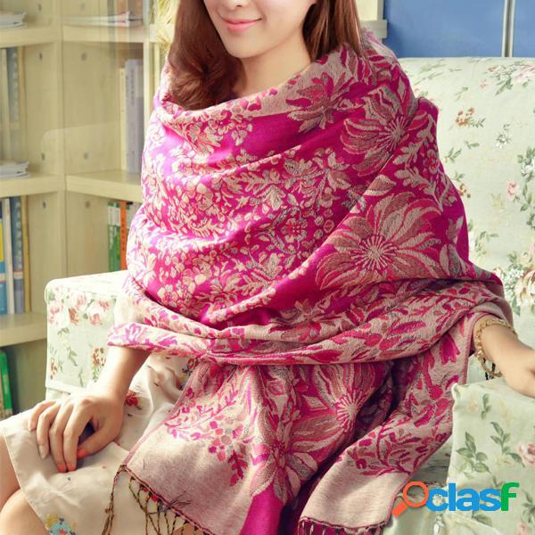 Lyza mulheres nacional vento impressão cachecol outono longa borla quente toalha