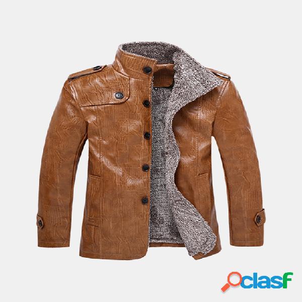 Jaqueta vintage impermeável de moto lã interna couro sintético
