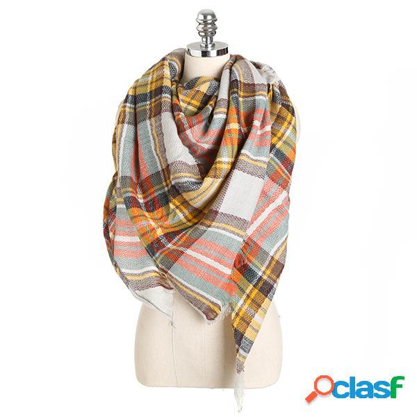 Tassels para mulheres, lenço de xadrez, aquecedor, pescoço, xale, latão, triangular, pashmina, cachecol, totas