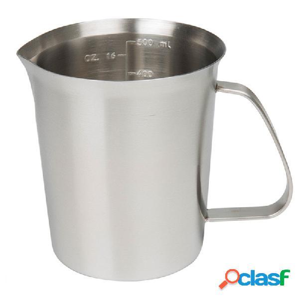 Kcasa kc-mcup 18/10 jarra de medição de aço inoxidável jarro com marquise para espuma de leite