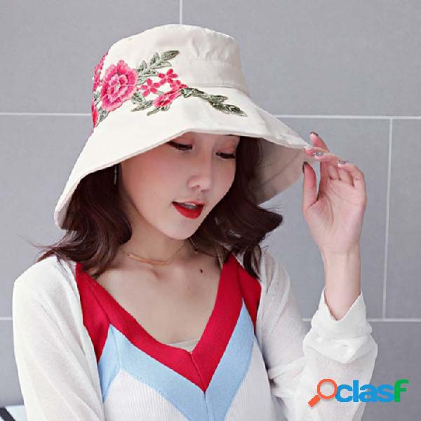Flor nacional da peônia do bordado do estilo das mulheres padrão tampão largo da cubeta da forma da borda do algodão 100%