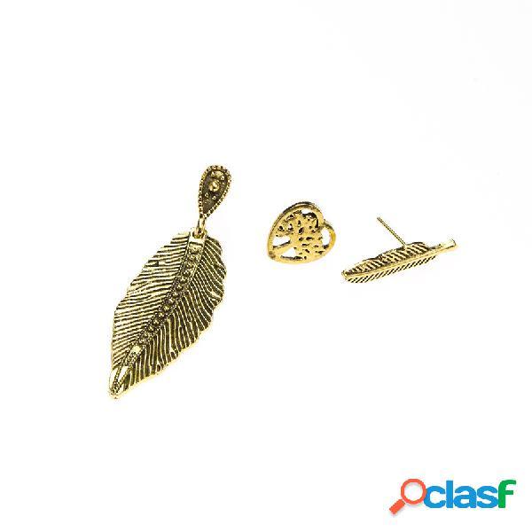 Vintage um conjunto de orelha gota do parafuso prisioneiro coração oco folhas de árvore brincos planta jóias set presente para as mulheres