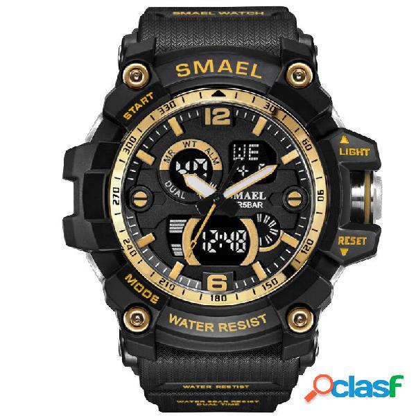 Smael dual display à prova d 'água relógio esportivo relógio digital de quartzo relógio militar relógio de pulso para homens