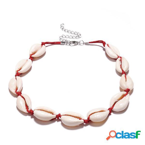 Vintage frisado colar clavícula shell cera corda colar choker jóias acessórios para mulheres