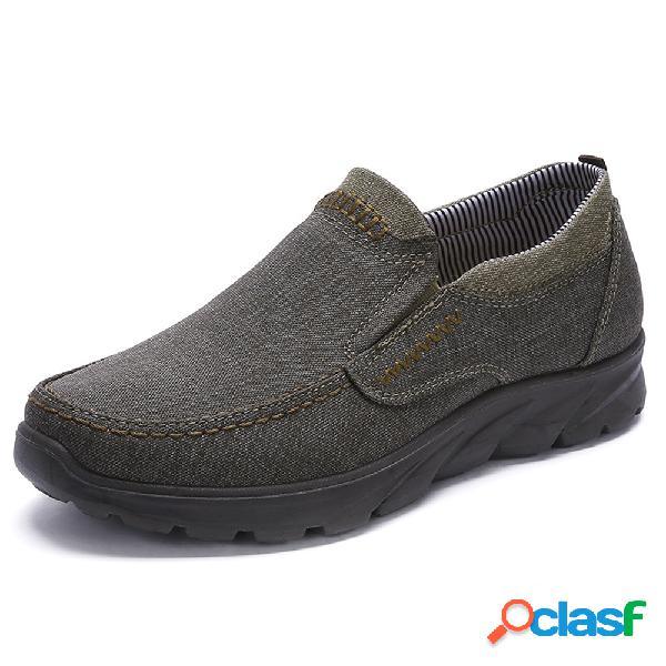 Tamanho grande homens lavados lona soft único deslizamento em sapatos casuais