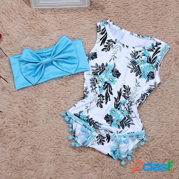 2pcs macação infantil floral confortável de algodão com faixa de cabelo para 0-24m