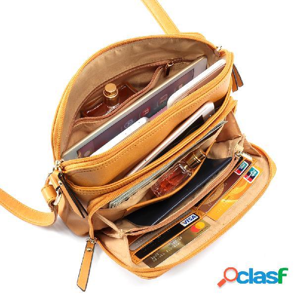 Bolsa feminina a tiracolo de cor sólida de multi-bolsos casual