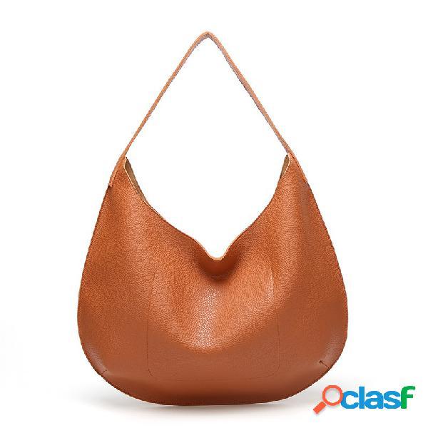 Tote simples de couro falso para mulheres bolsa ombro para bolsa bolsa