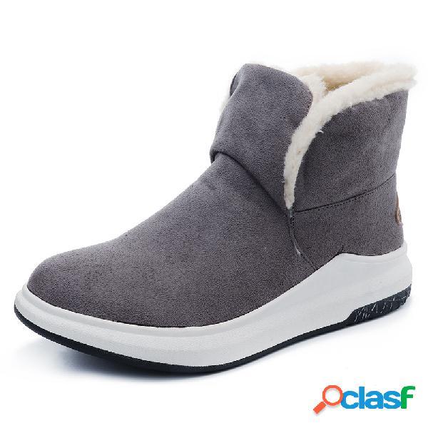 Tamanho grande mulheres inverno cor sólida dedo do pé redondo forro quente botas de neve curtas