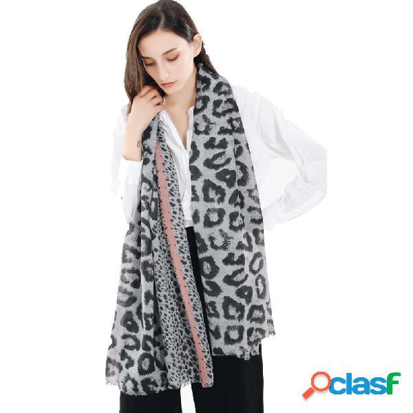 185 cm mulheres leopardo macio e confortável algodão e borla cachecol xale cachecol quente ao ar livre ocasional