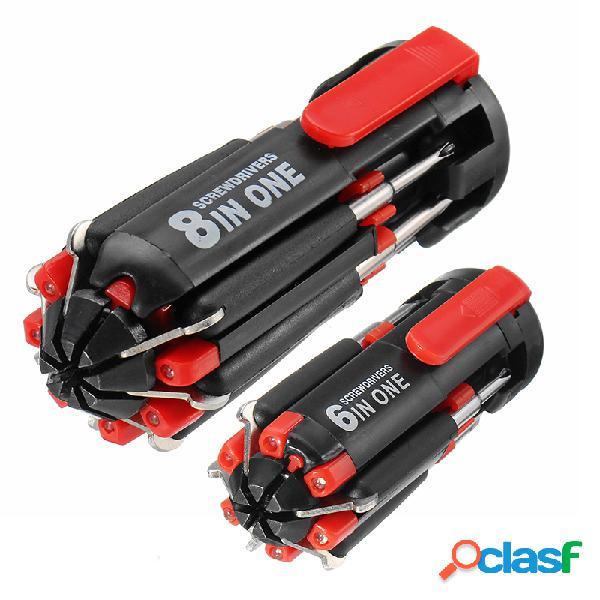 Raitool ™ 6/8 em 1 multi-função chave de fenda combinação de luz led chave de fenda ferramentas