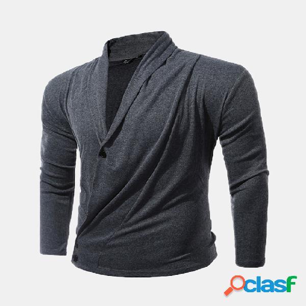 Mens malha plissada drapeado profundo decote em v cor sólida xale botão gola alta manga comprida