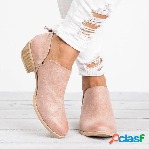 Mulheres de tamanho grande casual cor sólida zipper botas de salto baixo