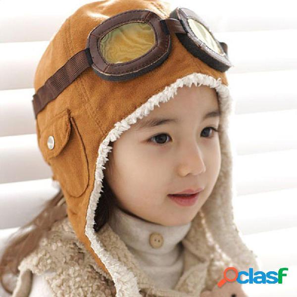 2-6 anos vintage bonito crianças aviador piloto chapéu com óculos de proteção