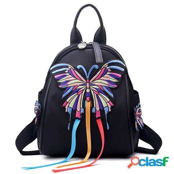 Mulheres borboleta padrão ombro mochila nacional bolsa