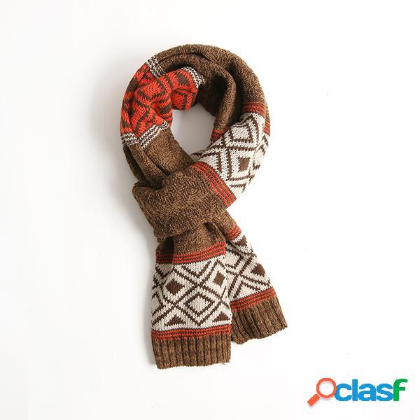Mulheres estilo étnico lã algodão cachecóis xaile inverno quente confortável suave ao ar livre mantenha o cachecol quente