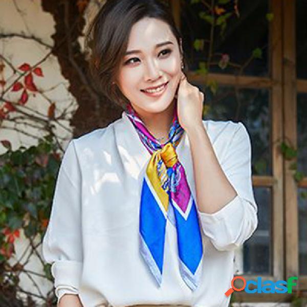 Mulheres chiffon bordado padrão fina respirável lenço quadrado lenço de cachecol casual cachecol