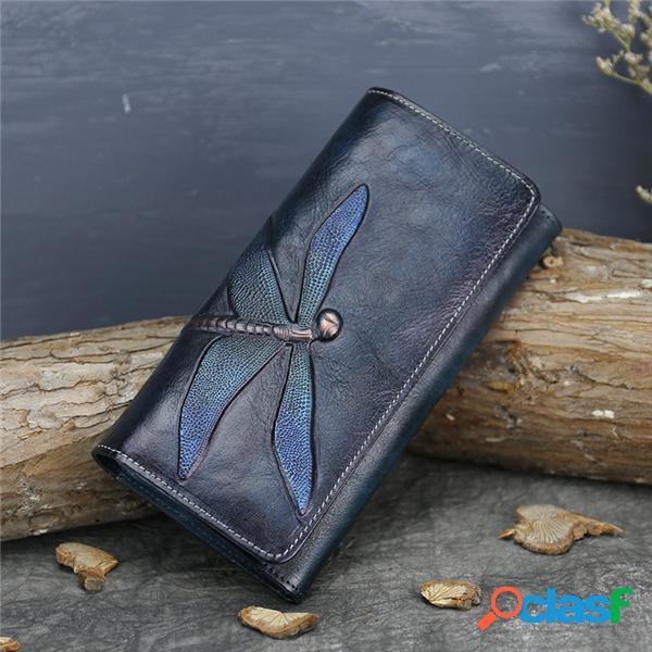 Estilo nacional couro genuíno com três dobras longa carteira titular do cartão de telefone bolsa bolsa para mulheres