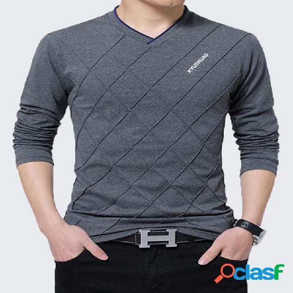 S-3xl camiseta elegante de algodão desenho de linhas cor sólida gola em v manga longa