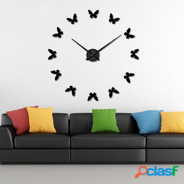 Grande 3d diy relógio de parede home decor espelho adesivo art clock