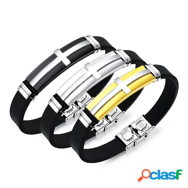 Moda pulseira de aço inoxidável cruz pulseira de silicone dos homens jóias para homens