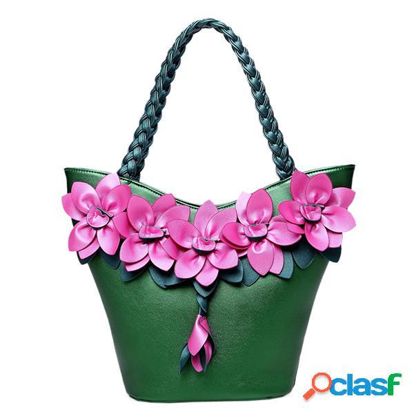 Brenice balde de decoração de flor de couro bolsa estilingue de estilo nacional bolsa para mulheres