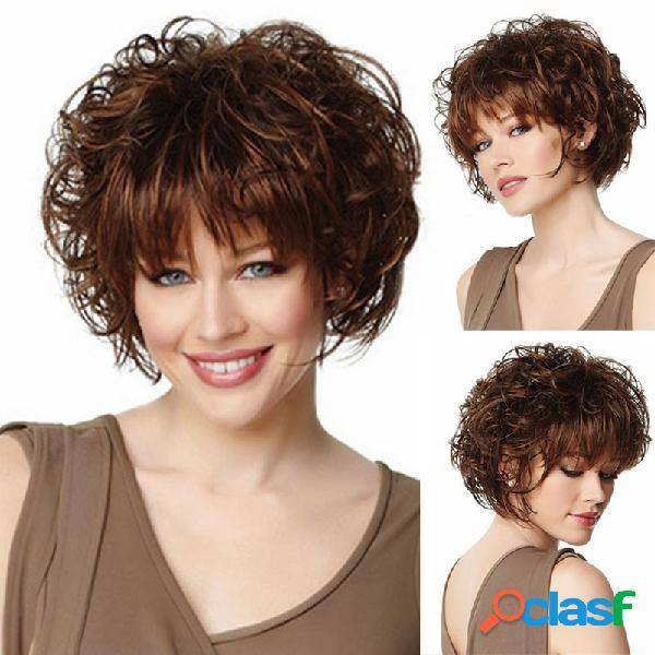 Rose net perucas sintéticas curto perucas de cabelo encaracolado loira franja completa europeu americano conjunto de cabelo das mulheres