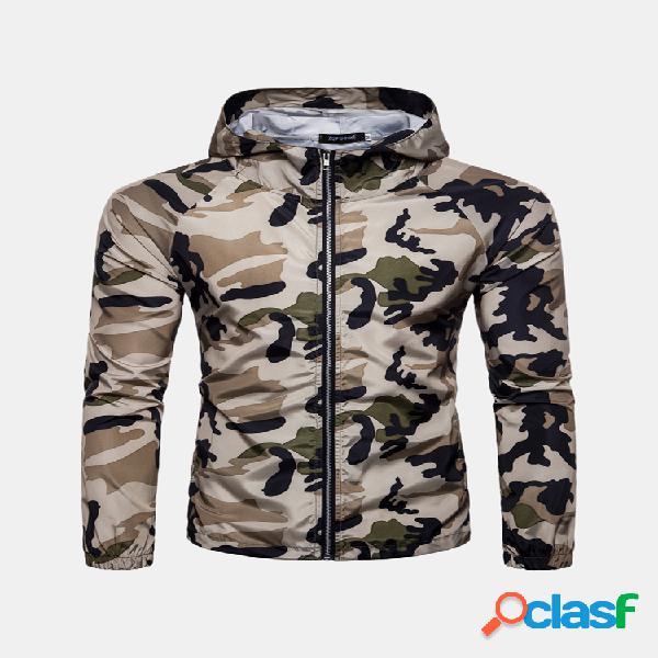 Jaqueta masculina proteção solar camuflagem estampada com capuz