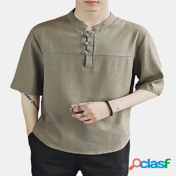 Camiseta linho de algodão estilo chinês gola alta solta casual