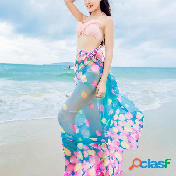 Lenço e xaile de seda florais quentes quentes do verão praia da proteção solar das mulheres